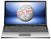 Laptop with Work Life Balance wordcloud — Stock Photo