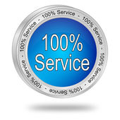 Hundred percent service button — 图库照片