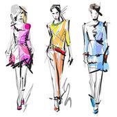 Kvinna mode modeller — Stockvektor