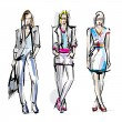 Fashion models. Sketch — Stock Vector