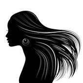 Woman Hair style Silhouette — Stock Vector