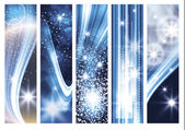 Abstract light glowing banner set — Vector de stock