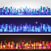 City skyline banner set — Stock Vector