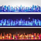 Stad skyline banner set — Stockvector