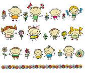 Cute cartoon kids — Stock Vector