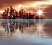 City skyline at sunset — Stock Vector