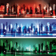 City skyline at night banner set — Stock Vector