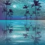 Exotic Palm Trees. Seashore Sunset — Stock Vector #35009695
