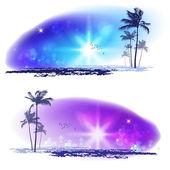 Exotické palmy. moře slunce — Stock vektor