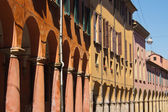 Porticoes of Bologna's old city center — Foto de Stock