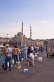 Men fishing on Galata Bridge in Istanbul — Stock Photo