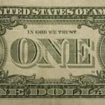 Bent one dollar bill — Stock Photo