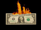 One dollar to burn — Stock Photo