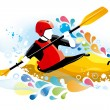 Stock Vector: Vector illustration of kayaker