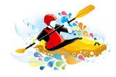 Vector illustration of a kayaker — Stock Vector