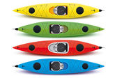 Illustration of colored kayaks — Stockvector
