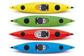 Ilustración de kayaks coloreados — Vector de stock