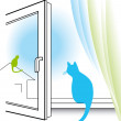 Cat watching through the window — Stock Vector #39709277