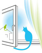 Cat watching through the window — Stock Vector