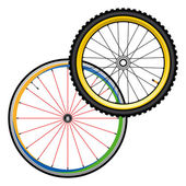 Bicycle wheels for road and mountain bike — Stock Vector