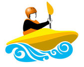 Kayaker in yellow boat — Stock Vector