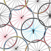 Seamless pattern with bicycle rims — Stock Vector