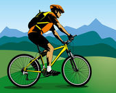 Colour illustration of cyclist and blue mountains — Stock Vector