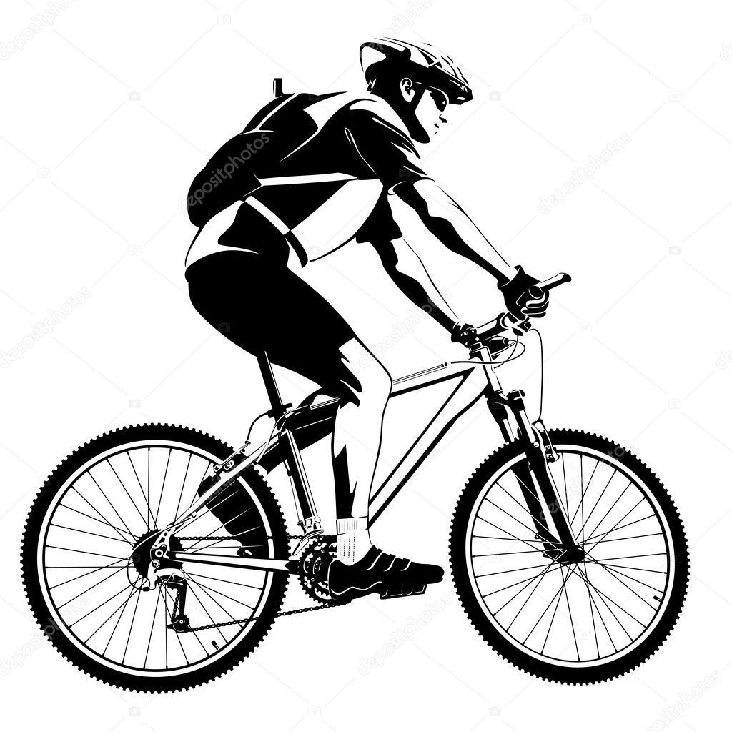 Cyclist on mountain bike — Stock Vector © kalmatsui #41042769
