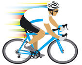 Racing cyclist in white jersey — Stock Vector