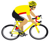 Racing cyclist in yellow jersey — Stock Vector