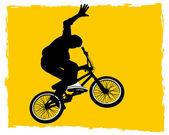 Cyclist on bmx in the sky — Stock Vector