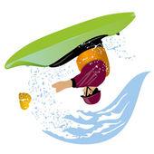 Kayaker performs loop element — Stock Vector