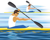 Kayak rowing competition — Stock Vector