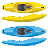 Set of yellow and blue running kayaks — Stock Vector