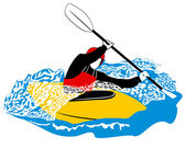 Vector illustration of kayaking — Stock Vector