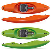 Set of red and green running kayaks — Stock Vector
