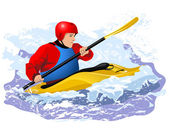 Kayaker in red jacket and blue life vest rawing in waves in yellow boat — Stock Vector