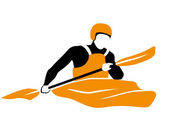 Icon of kayaker rawing in orange boat — Vector de stock