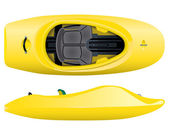 Vector illustration of yellow freestyle kayak — Stock Vector