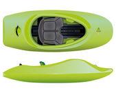 Vector illustration of green freestyle kayak — Stock Vector