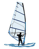 Vector illustration of wind surfer — Stock Vector