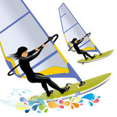 Illustration of windsurfing with color splashes — Stock Vector
