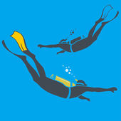 Vector illustration of divers — Stock Vector