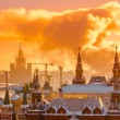 Sunrise over Red Square of Moscow Kremlin. Russia - Stock Photo