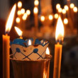 Stock Video: Wax candles in church. RussiOrthodox Church