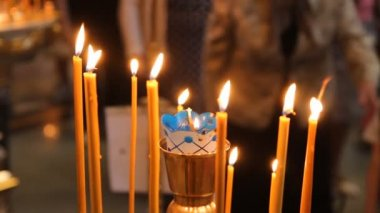 Wax candles in the church. The Russian Orthodox Church — Stock Video