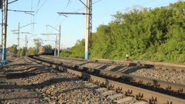 Russian Railways. Locomotives, wagons. — Stock Video