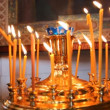 Wax candles in the church. The Russian Orthodox Church - 图库照片