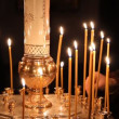 Wax candles in the church. The Russian Orthodox Church - Stok fotoğraf
