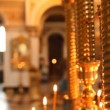RussiOrthodox Church. Burning candles on candlestick — Stok Video #12807712
